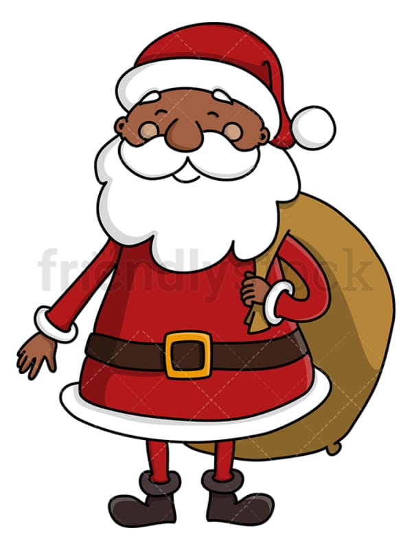 Black santa claus carrying gift bag. PNG - JPG and vector EPS (infinitely scalable).