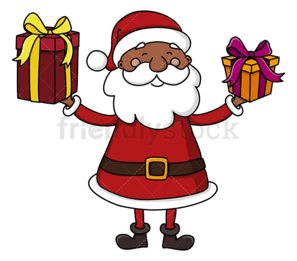 Black santa claus holding presents. PNG - JPG and vector EPS (infinitely scalable).