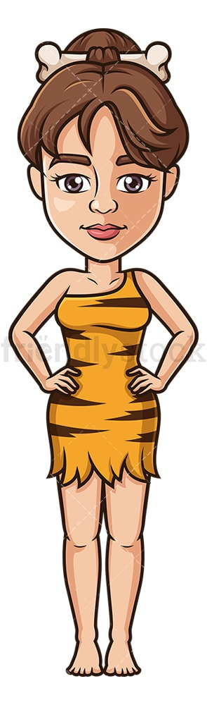 Cavewoman front view. PNG - JPG and vector EPS (infinitely scalable).