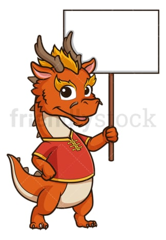 Chinese new year dragon with empty sign. PNG - JPG and vector EPS (infinitely scalable).
