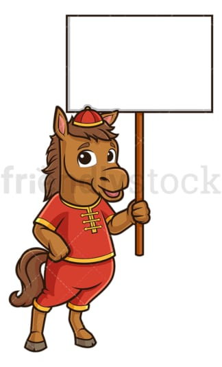 Chinese new year horse with empty sign. PNG - JPG and vector EPS (infinitely scalable).