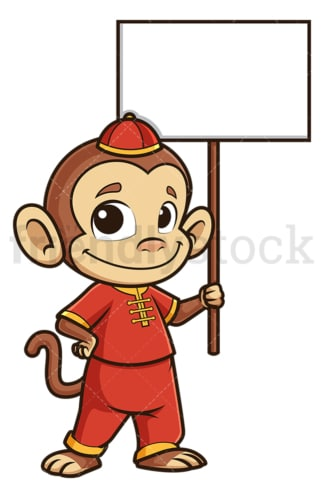Chinese new year monkey with empty sign. PNG - JPG and vector EPS (infinitely scalable).