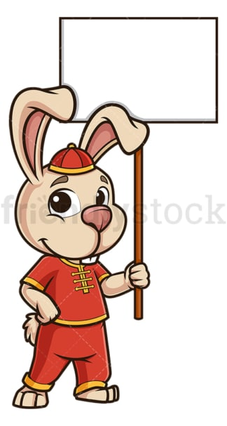 Chinese new year rabbit with empty sign. PNG - JPG and vector EPS (infinitely scalable).
