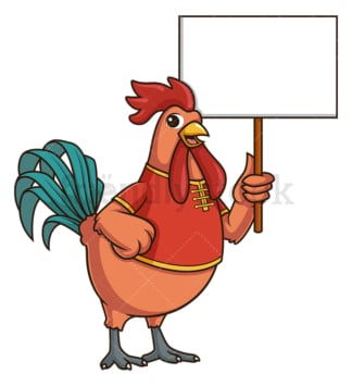Chinese new year rooster with empty sign. PNG - JPG and vector EPS (infinitely scalable).