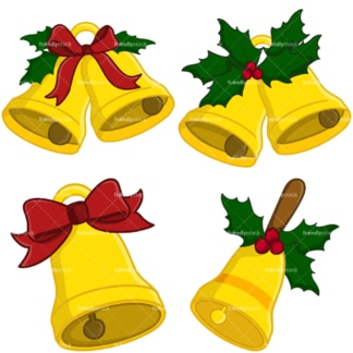 Christmas bells vector clipart bundle. PNG - JPG and vector EPS file formats (infinitely scalable). Image isolated on transparent background.