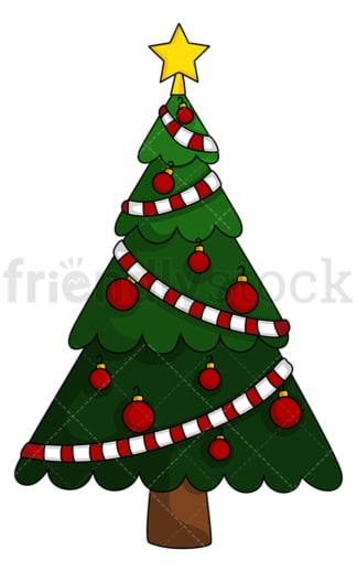 Christmas tree with single color decorations. PNG - JPG and vector EPS (infinitely scalable).