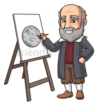 Galileo galilei drawing the surface of the moon. PNG - JPG and vector EPS (infinitely scalable).