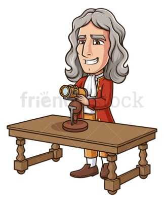 Isaac newton inventing reflecting telescope. PNG - JPG and vector EPS (infinitely scalable).