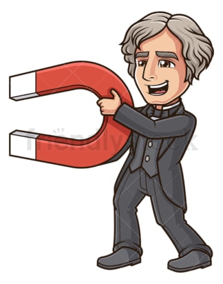 Michael faraday holding magnet. PNG - JPG and vector EPS (infinitely scalable).