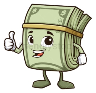Money mascot thumbs up. PNG - JPG and vector EPS (infinitely scalable).