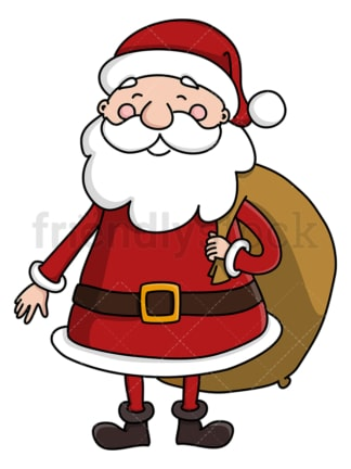 Santa claus carrying his gifts sack. PNG - JPG and vector EPS (infinitely scalable).