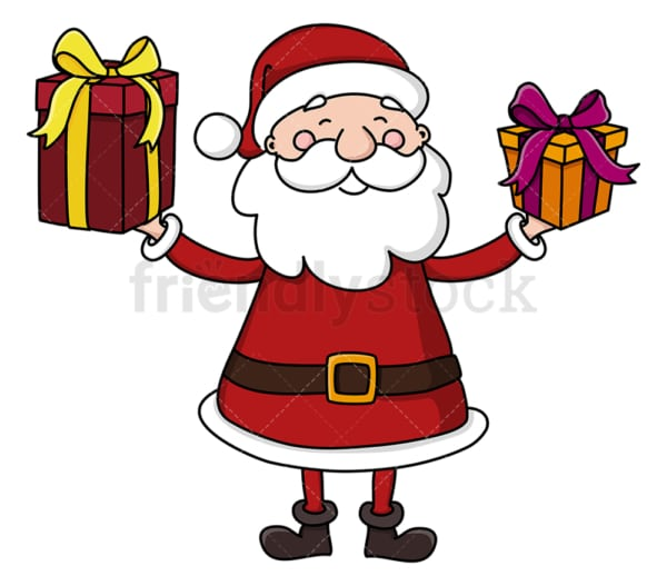 Santa claus holding christmas presents. PNG - JPG and vector EPS (infinitely scalable).