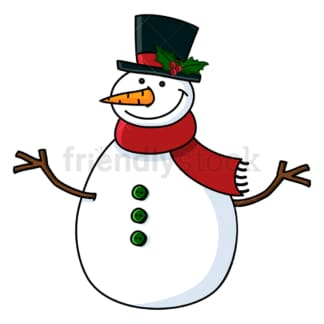 Snowman wearing hat with mistletoe on it. PNG - JPG and vector EPS file formats (infinitely scalable). Image isolated on transparent background.