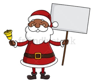 Black santa claus holding blank sign. PNG - JPG and vector EPS (infinitely scalable).