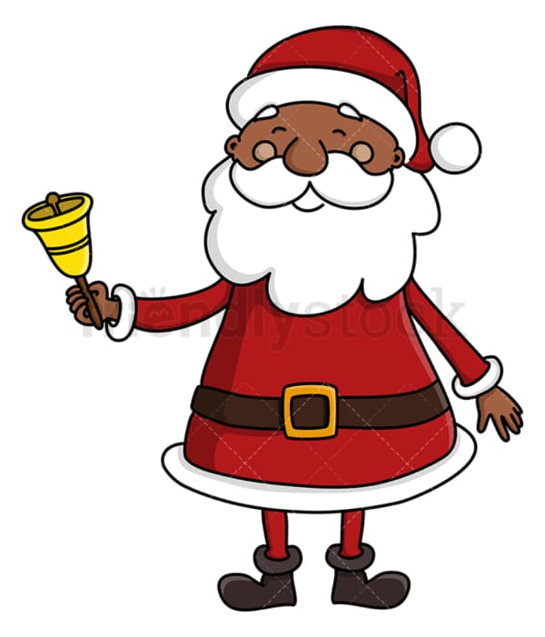 Black santa claus ringing christmas bell. PNG - JPG and vector EPS (infinitely scalable).