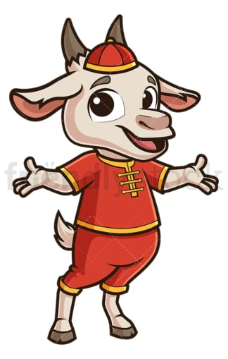 Chinese new year goat presenting. PNG - JPG and vector EPS (infinitely scalable).