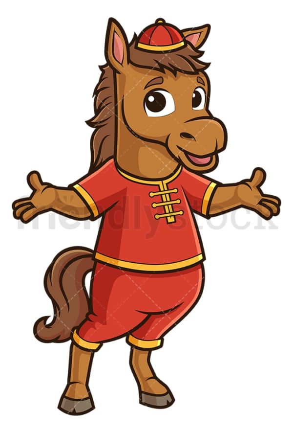Chinese new year horse presenting. PNG - JPG and vector EPS (infinitely scalable).