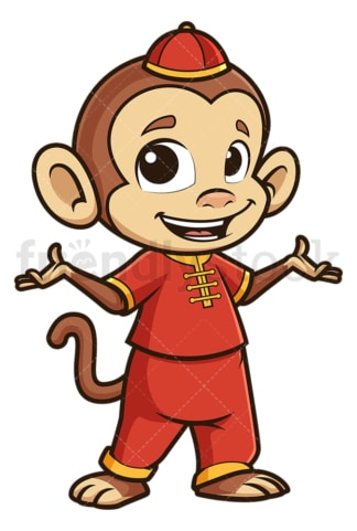 Chinese new year monkey presenting. PNG - JPG and vector EPS (infinitely scalable).