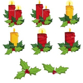 Christmas candles clipart bundle. PNG - JPG and vector EPS file formats (infinitely scalable). Image isolated on transparent background.