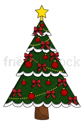 Christmas tree with red ribbons and ornaments. PNG - JPG and vector EPS (infinitely scalable).