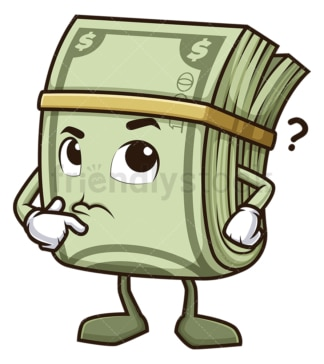 Confused money mascot thinking. PNG - JPG and vector EPS (infinitely scalable).