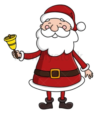 Cute santa claus ringing christmas bell. PNG - JPG and vector EPS (infinitely scalable).