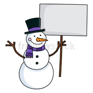 Cute snowman holding an empty sign. PNG - JPG and vector EPS file formats (infinitely scalable). Image isolated on transparent background.