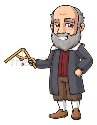 Galileo galilei holding the sector. PNG - JPG and vector EPS (infinitely scalable).