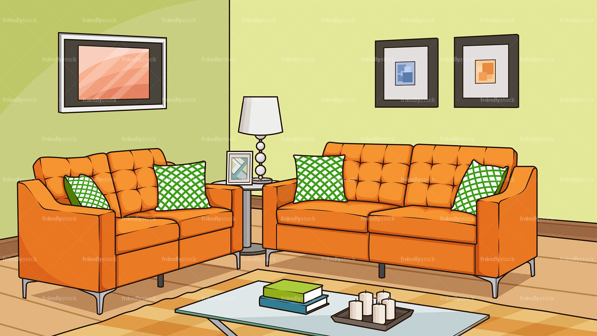Living Room With Sofa Background Cartoon Vector Clipart ...