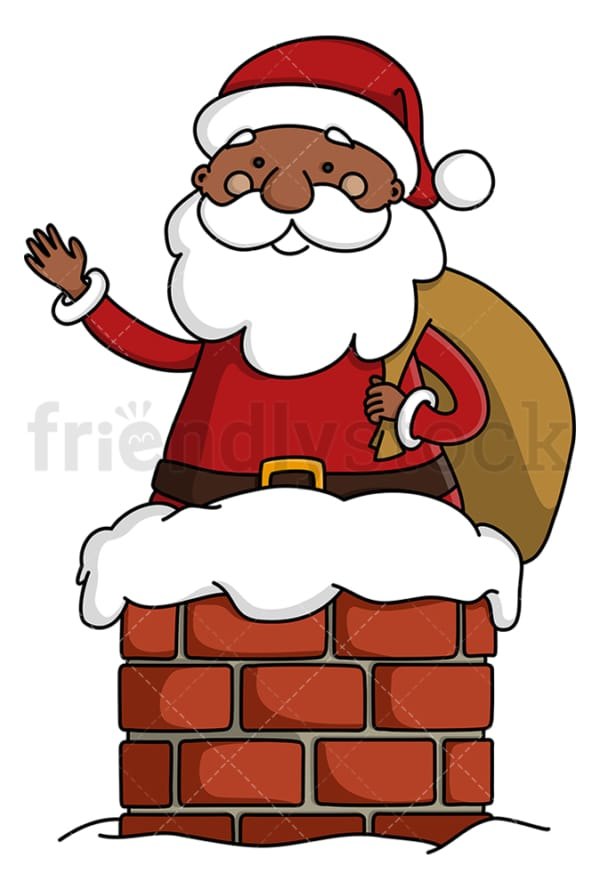 Black santa claus in chimney. PNG - JPG and vector EPS (infinitely scalable).