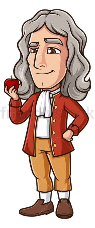 Isaac newton holding an apple. PNG - JPG and vector EPS (infinitely scalable).