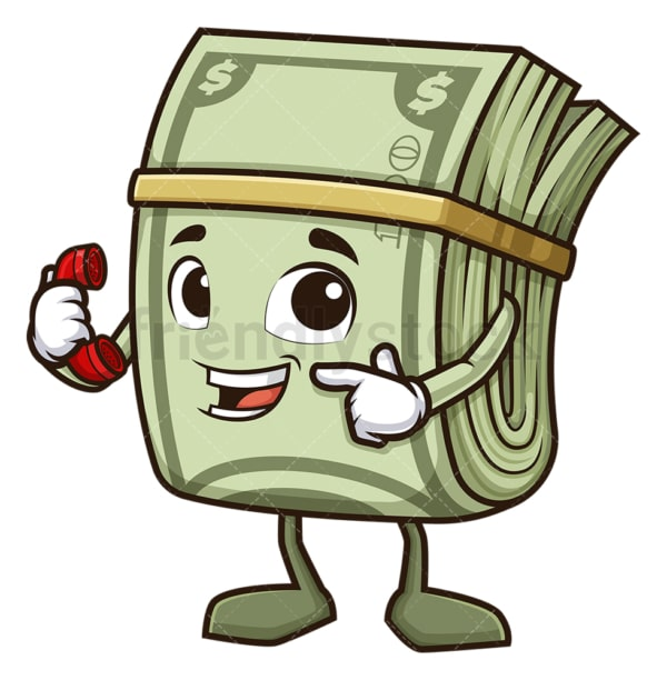 Money mascot pointing to phone. PNG - JPG and vector EPS (infinitely scalable).