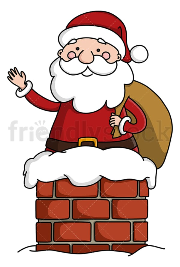 Santa claus going down a chimney. PNG - JPG and vector EPS (infinitely scalable).