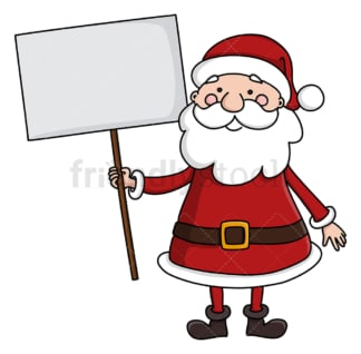 Santa claus holding empty sign. PNG - JPG and vector EPS (infinitely scalable).