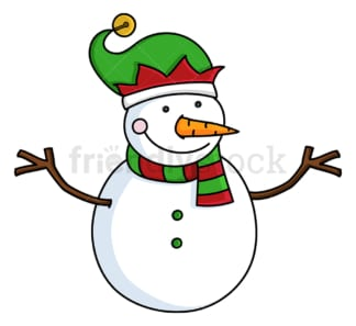 Smiling snowman wearing an elven hat. PNG - JPG and vector EPS file formats (infinitely scalable). Image isolated on transparent background.
