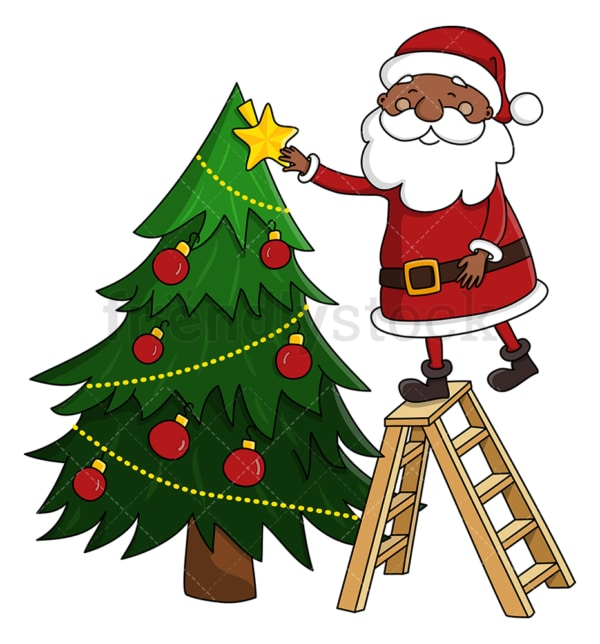 Black santa claus decorating christmas tree. PNG - JPG and vector EPS (infinitely scalable).