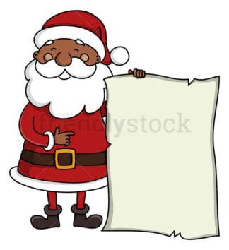 Black santa claus holding blank papyrus. PNG - JPG and vector EPS (infinitely scalable).
