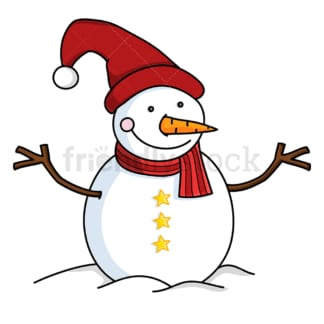 Cute snowman with long red christmas hat. PNG - JPG and vector EPS file formats (infinitely scalable). Image isolated on transparent background.