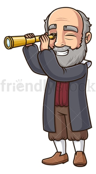 Galileo galilei with telescope. PNG - JPG and vector EPS (infinitely scalable).