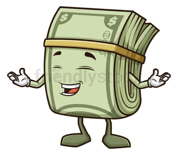 Happy money mascot character. PNG - JPG and vector EPS (infinitely scalable).