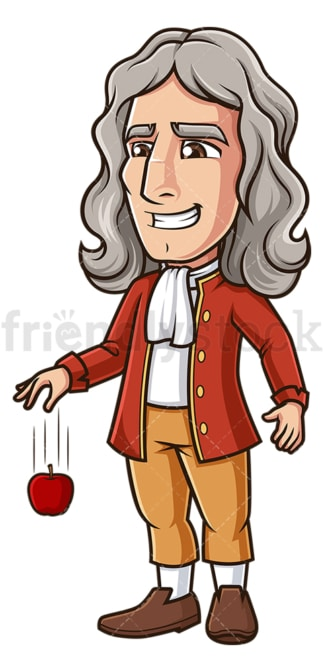 Isaac newton dropping an apple. PNG - JPG and vector EPS (infinitely scalable).