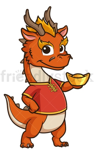 New year dragon holding chinese gold ignot. PNG - JPG and vector EPS (infinitely scalable).