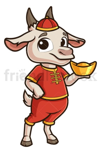 New year goat holding chinese gold ignot. PNG - JPG and vector EPS (infinitely scalable).