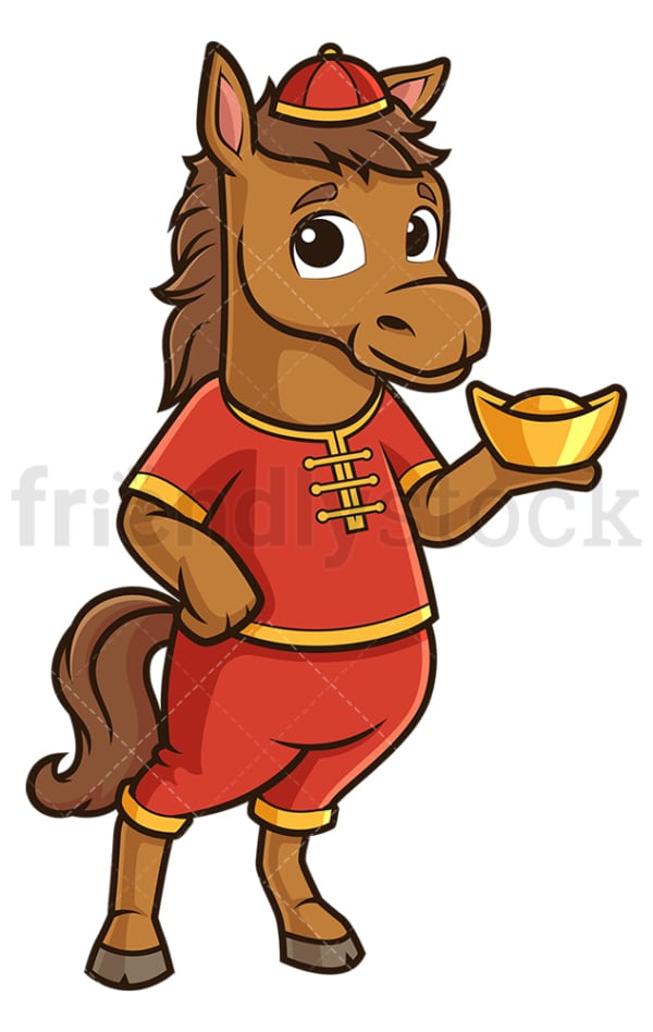 New year horse holding chinese gold ignot. PNG - JPG and vector EPS (infinitely scalable).