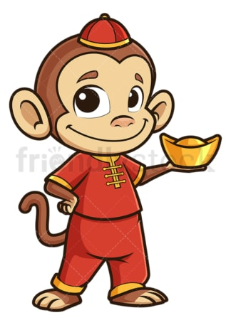 New year monkey holding chinese gold ignot. PNG - JPG and vector EPS (infinitely scalable).