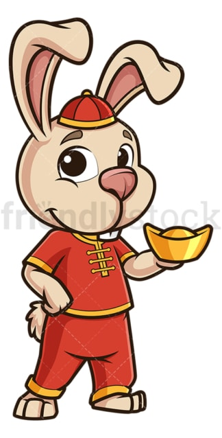 New year rabbit holding chinese gold ignot. PNG - JPG and vector EPS (infinitely scalable).