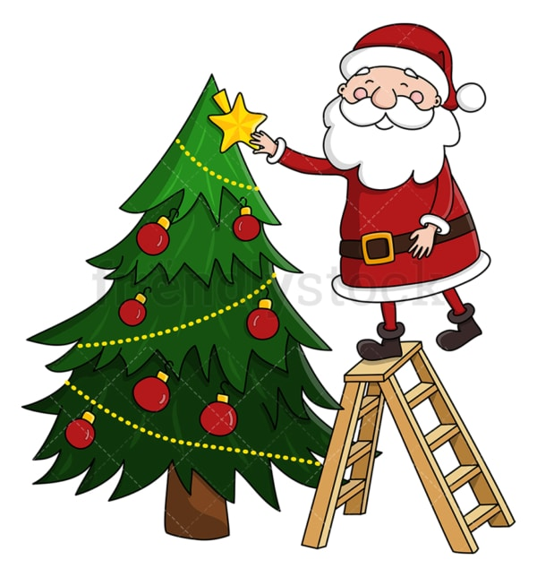 Santa claus decorating christmas tree. PNG - JPG and vector EPS (infinitely scalable).