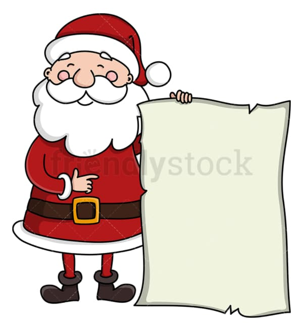 Santa claus holding blank papyrus. PNG - JPG and vector EPS (infinitely scalable).