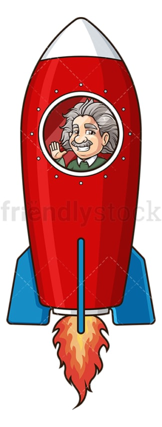 Albert einstein in rocket ship. PNG - JPG and vector EPS (infinitely scalable).