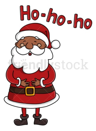 Black santa claus laughing ho ho ho. PNG - JPG and vector EPS (infinitely scalable).